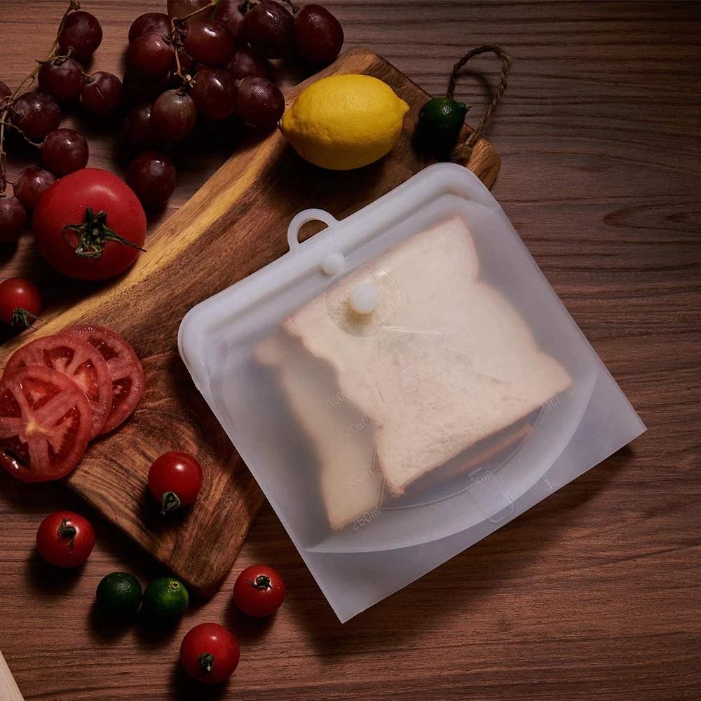 SET 3 SILICONE REUSABLE ZERO WASTE FOOD STORAGE BAGS