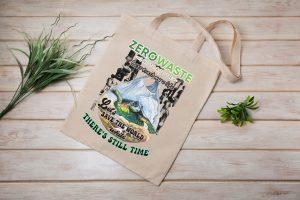 Less Trash More Life Canvas Tote Bag Zero Waste Initiative